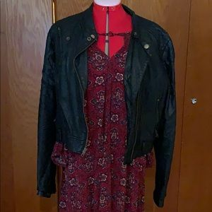 American eagle dress with vegan leather jacket